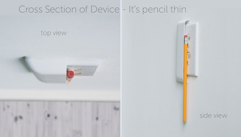 sleek socket - it's pencil thin on top of an outlet!